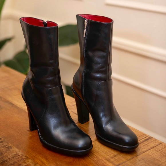 bedee92c88b Tommy Hilfiger Black Leather High Heel Boots 8.5m
